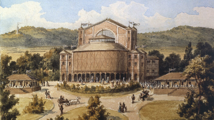 Bayreuth, Festspielhaus / Aquarell 1876 - Bayreuth /Fest.Theatre/Watercolour/ 1876 -